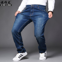 Jeans Youth fashion Qi Weilong 28 29 30 31 32 33 34 36 38 40 42 44 46 48 Black light blue dark blue routine Micro bomb Cotton elastic denim Q7718# trousers Cotton 66.3% polyester 31.1% polyurethane elastic fiber (spandex) 2.6% autumn Large size Medium high waist Fitting straight tube Youthful vigor