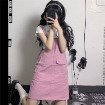 skirt Summer 2021 S,M,L Pink Short skirt commute Strapless skirt Solid color Type A 18-24 years old 31% (inclusive) - 50% (inclusive) Denim cotton Korean version