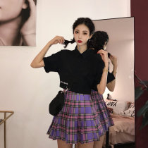 skirt Summer of 2018 S M Picture color Short skirt commute High waist A-line skirt lattice Type A 18-24 years old Other / other Retro