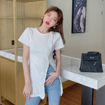 Dress Summer 2021 White black S M L Miniskirt singleton  Short sleeve commute Crew neck High waist Solid color Socket One pace skirt routine 18-24 years old Type A Ke LAN Dun Korean version W47 More than 95% other other Other 100% Pure e-commerce (online only)