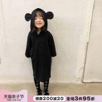 Dress Black dress dark grey dress black leggings female NNGZ 110cm 120cm 130cm 140cm 150cm 160cm 170cm Cotton 100% spring and autumn leisure time Long sleeves Solid color cotton other 002Q101 Class B Autumn 2020 Chinese Mainland Zhejiang Province Hangzhou