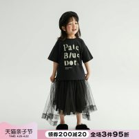T-shirt black NNGZ 110cm 120cm 130cm 140cm 150cm female summer Short sleeve Crew neck leisure time There are models in the real shooting nothing cotton printing Cotton 100% Class B Summer 2021 Chinese Mainland Zhejiang Province Hangzhou