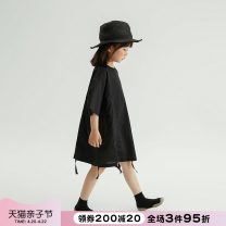 Dress black female NNGZ 110cm 120cm 130cm 140cm 150cm 160cm 170cm Cotton 100% summer Korean version Short sleeve Solid color cotton A-line skirt 002Q321-1 Class B Summer 2021 Chinese Mainland Zhejiang Province Hangzhou