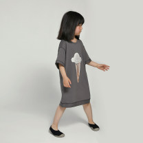Dress grey female NNGZ 110cm 120cm 130cm 140cm 150cm Cotton 100% summer leisure time Short sleeve printing cotton Straight skirt B212T527 Class B Summer 2021 Chinese Mainland Zhejiang Province Hangzhou