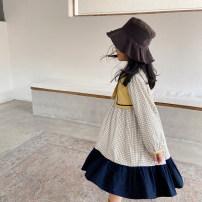 Dress Beige female NNGZ 120cm 130cm 140cm 150cm 160cm 165cm Cotton 100% spring and autumn solar system Long sleeves lattice cotton A-line skirt Class B Spring 2020 Chinese Mainland Zhejiang Province Hangzhou