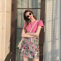 Tape Rose T-shirt + Lavender skirt l rose T-shirt + Lavender skirt s Rose T-shirt + Lavender Skirt M rose T-shirt + Lavender Skirt XL 8995ss Thouland Island City Summer 2021
