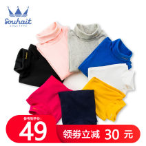 T-shirt Souhait / water boy 105cm 110cm 120cm 130cm 140cm 150cm 160cm 170cm neutral spring and autumn Long sleeves High collar leisure time There are models in the real shooting nothing cotton Solid color Cotton 96% polyurethane elastic fiber (spandex) 4% AGAQL450 Class B Sweat absorption