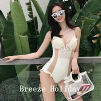 one piece  M,L,XL Black, white Triangle one piece swimsuit Steel strap breast pad Nylon, others female Sleeveless Casual swimsuit Other, solid backless