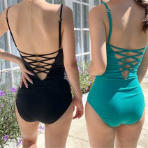 one piece  golden beach  M,L,XL Black, green Triangle one piece swimsuit With chest pad without steel support Nylon, others female Sleeveless Casual swimsuit Solid color, others backless