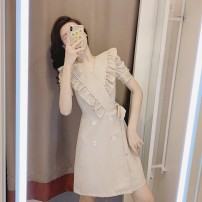 Dress Summer 2021 Dress S M L XL Mid length dress singleton  Short sleeve commute V-neck High waist Solid color Socket other routine Others 18-24 years old Cabinet school Korean version 71% (inclusive) - 80% (inclusive) other polyester fiber Polyester 80% other 20% Pure e-commerce (online only)