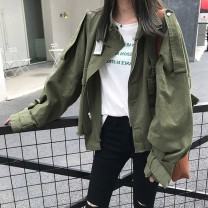 Windbreaker Winter 2020 S M L XL Army green apricot Long sleeves routine Medium length commute Single breasted stand collar routine Solid color Straight cylinder Korean version Cabinet school 18-24 years old 71% (inclusive) - 80% (inclusive) polyester fiber Polyester 80% other 20%
