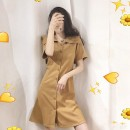 Dress Summer 2021 Picture color S M L XL Mid length dress singleton  Short sleeve commute Polo collar High waist Solid color Single breasted A-line skirt routine Others 18-24 years old Cabinet school Korean version 71% (inclusive) - 80% (inclusive) other polyester fiber Polyester 80% other 20%