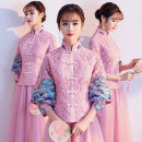Dress / evening wear Weddings, adulthood parties, company annual meetings, daily appointments XS S M L XL XXL XXXL Pink Retro longuette middle-waisted Spring of 2019 Self cultivation stand collar zipper 18-25 years old RQ17QB91 Long sleeves Embroidery Popular brides routine Acetate 95% others 5%