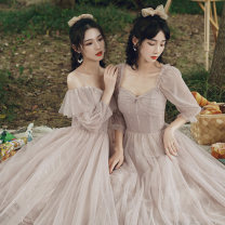 Dress / evening wear Weddings, adulthood parties, company annual meetings, daily appointments XS S M L XL XXL XXXL Korean version longuette middle-waisted Winter 2020 Self cultivation Sling type zipper 18-25 years old Solid color Popular brides Flying sleeve Polyester 90% other 10%