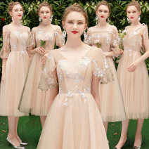 Dress / evening wear Weddings, adulthood parties, company annual meetings, daily appointments S M L XL XXL XXXL grace Medium length middle-waisted Summer of 2019 Self cultivation Sling type Bandage 18-25 years old Popular brides routine Other polyester 95% 5% Pure e-commerce (online only) other