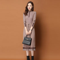 Dress Winter of 2019 M L XL XXL XXXL longuette singleton  Long sleeves commute Half high collar middle-waisted Solid color Socket A-line skirt routine Others 30-34 years old Type A Mupu Korean version Splicing 31% (inclusive) - 50% (inclusive) knitting polyester fiber Pure e-commerce (online only)