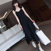 Dress Summer 2021 black S,M,L,XL longuette singleton  Sleeveless commute V-neck High waist Solid color Socket A-line skirt routine camisole 25-29 years old Type A backless More than 95% Chiffon other