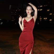 Dress Autumn 2020 Red dress S,M,L longuette singleton  Sleeveless commute V-neck High waist Solid color zipper camisole 25-29 years old Type A zipper polyester fiber