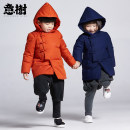 Down Jackets 110cm 120cm 130cm 140cm 90% White duck down children Eyetree Orange Navy polyester Medium length No detachable cap Single breasted Solid color TAFD70G0072 Class C Polyester 100% Polyester 100% Winter of 2018