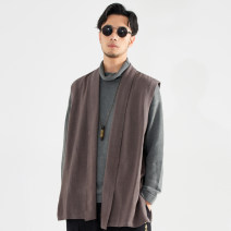 Vest / vest other There are carp M L XL 2XL 3XL 4XL Light grey grey Other leisure standard Vest routine autumn No collar youth 2017 Chinese style MJ103 Solid color No button, no zipper Cloth hem Viscose 74.8% flax 25.2% washing nothing Thread embedding and bag digging Autumn of 2019