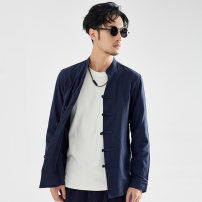 shirt Fashion City There are carp M L XL 2XL 3XL Black Navy White Thin money stand collar Long sleeves Self cultivation daily autumn CS208 youth Cotton 95% other 5% Chinese style 2019 Solid color Autumn of 2019 other other Pure e-commerce (online only)
