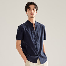 shirt Youth fashion There are carp M L XL 2XL 3XL Black Navy White Thin money stand collar Short sleeve Self cultivation Other leisure summer CS201 youth Cotton 95% other 5% Chinese style 2019 Solid color Spring of 2019 washing Button decoration Pure e-commerce (online only)
