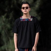 National Costume There are carp S M L XL XXL black other Flax 55% cotton 45% summer Home youth hemp Solid color washing Sticking cloth Summer of 2019 Calico Pure e-commerce (online only)