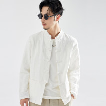 National Costume There are carp M L XL 2XL 3XL White black Navy card Tang costume Cotton 80% flax 20% autumn leisure time youth Solid color washing other Autumn of 2019 Pure e-commerce (online only)