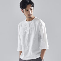 T-shirt Youth fashion Grey white routine M L XL 2XL 3XL There are carp three quarter sleeve Crew neck standard Other leisure summer DT501 Ramie 76% cotton 24% youth routine Chinese style Spring of 2019 Solid color other fold Pure e-commerce (online only)