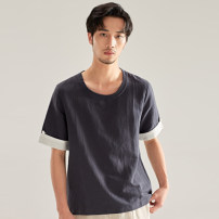 T-shirt other White black Navy Camel thin M L XL 2XL 3XL There are carp Short sleeve Crew neck standard Other leisure summer DT510 Flax 50% cotton 50% youth routine Chinese style Slub yarn Summer of 2019 Solid color Button decoration Cotton and hemp Chinese culture washing Designer brand