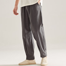 Casual pants There are carp other M L XL 2XL 3XL thin trousers Other leisure easy No bullet Four seasons youth Chinese style 2019 middle-waisted Straight cylinder Flax 50.4% cotton 43.1% viscose 6.5% Tapered pants washing Solid color Sweat cloth hemp Summer of 2019 Pure e-commerce (online only)