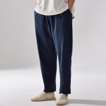 Casual pants There are carp Youth fashion Black Navy M L XL 2XL 3XL routine trousers Other leisure easy No bullet KZ724 summer youth Chinese style 2019 low-waisted Little feet Cotton 60% flax 40% Tapered pants washing Solid color Spring of 2019 Pure e-commerce (online only)