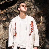Jacket There are carp Fashion City white XXL M L XL routine easy Other leisure autumn KS033 Flax 55% cotton 45% Long sleeves Wear out No collar Chinese style youth routine Frenulum Cloth hem Closing sleeve Solid color Fall 2017 printing Pure e-commerce (online only) hemp