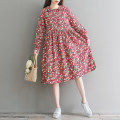 Dress Other / other Picture color M,L,XL,XXL other Long sleeves Medium length spring Crew neck Solid color Cotton and hemp