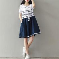 Dress Other / other white S,M,L,XL,XXL Short sleeve Decor