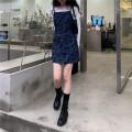 Fashion suit Spring 2021 Average size White cotton T, Denim Skirt M, denim skirt s