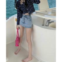 skirt Summer 2021 S,M,L Denim skirt 9096 , Flower cardigan 11083 , Flower sling 11085 Short skirt High waist Solid color Type A