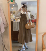 Fashion suit Spring 2021 Average size White shirt, blue shirt, coffee color with skirt, black with skirt 18-25 years old 6355#
