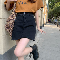 skirt Spring 2021 S,M,L,XL black Short skirt commute High waist A-line skirt Type A 18-24 years old 71% (inclusive) - 80% (inclusive) Button Korean version