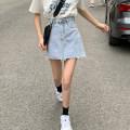 skirt Summer 2020 S,M,L Light blue, dark blue Short skirt Versatile High waist A-line skirt Solid color Type A 18-24 years old 81% (inclusive) - 90% (inclusive) Denim cotton 401g / m ^ 2 (inclusive) - 500g / m ^ 2 (inclusive)