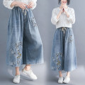 Jeans Summer 2021 M,L,XL,2XL,3XL,4XL Cropped Trousers High waist Wide legged trousers routine 25-29 years old Make old Cotton denim light colour 51% (inclusive) - 70% (inclusive)