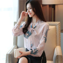 shirt S M L XL 2XL Autumn of 2019 polyester fiber 96% and above Long sleeves commute Regular V-neck Socket puff sleeve Broken flowers 35-39 years old Straight cylinder Han daisa lady Bow button Polyester 100% Pure e-commerce (online only)