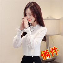shirt S M L XL 2XL 3XL Autumn of 2019 polyester fiber 96% and above Long sleeves commute Regular stand collar Single row multi button pagoda sleeve Solid color 35-39 years old Self cultivation Han daisa Simplicity HDS871708 Ruffle button Polyester 100% Pure e-commerce (online only)