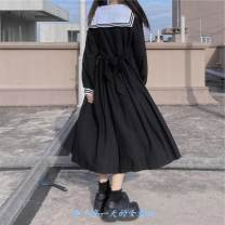 Dress Autumn 2020 Picture color Average size Mid length dress singleton  Long sleeves Sweet Admiral High waist Solid color Socket Big swing routine 18-24 years old Type A college