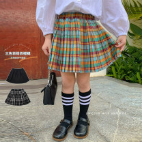 skirt 80, 90, qiqichuan, 100, 110, 120, 130, 140, 150 Gorgeous black, color grid, black and white grid LAN xiaopa female Other 100% spring and autumn skirt Britain lattice other other
