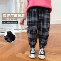 trousers LAN xiaopa neutral 80, 90, jam, 100, 110, 120, 130, 140, 150, adult, s, adult, m, adult, l Blue and white check with no velvet, black and white check with no velvet, blue and white check with velvet, black and white check with velvet spring and autumn trousers leisure time Leggings other