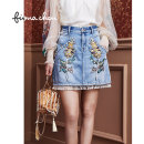 skirt Autumn 2020 1/XS 2/S 3/M 4/L Washed denim Short skirt gorgeous Natural waist Denim skirt Solid color Type A 25-29 years old FWAQ20208 More than 95% Denim Fiona Chen cotton Embroidery Cotton 100% Same model in shopping mall (sold online and offline)