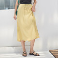 skirt Summer 2020 Average size White, yellow, black Mid length dress Versatile High waist A-line skirt Solid color Silk and satin