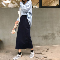 skirt Autumn of 2018 Average size longuette commute High waist Little black dress Solid color 18-24 years old - Other / other Simplicity