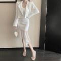 Fashion suit Spring 2021 S,M,L White suit, white suspender skirt